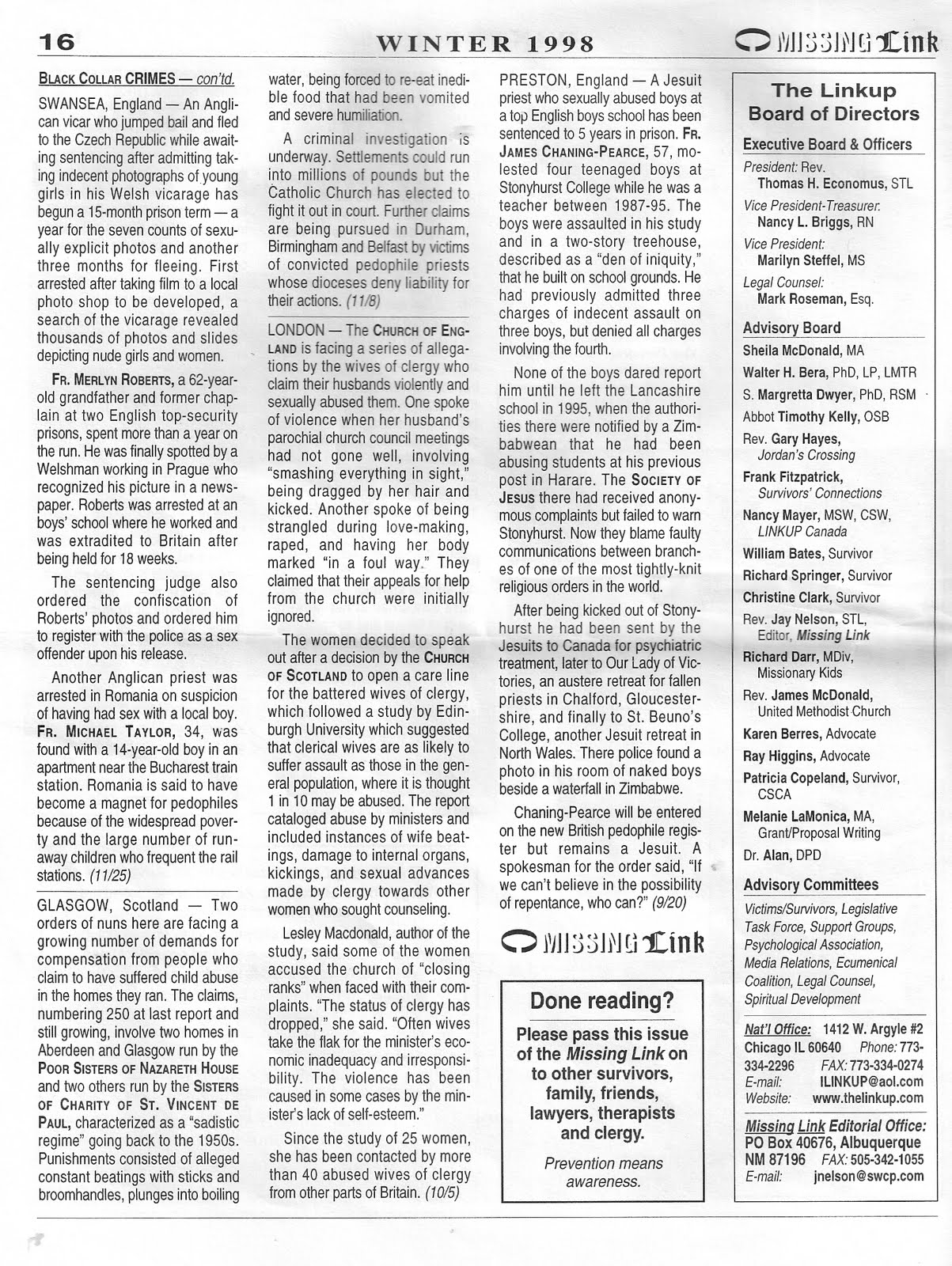 Linkup 1998 Newsletter Scanned Here to Whet Appetites for New Book ...