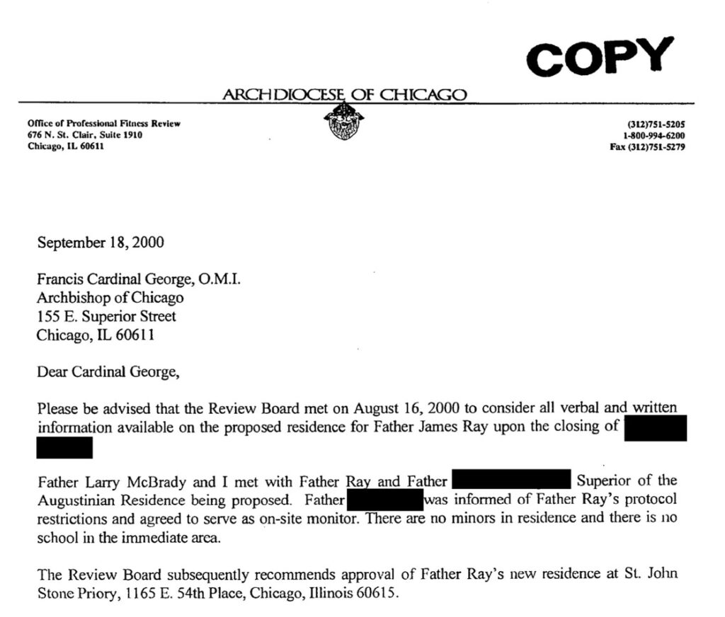 A letter to the then-head of the Archdiocese of Chicago, Cardinal Francis George, from one of his advisers saying it's fine for James Ray to move into a monastery because there's no school nearby — though an archdiocese-run elementary school is around the corner. Archdiocese of Chicago. ]BA-Chicago-Ray-271]
