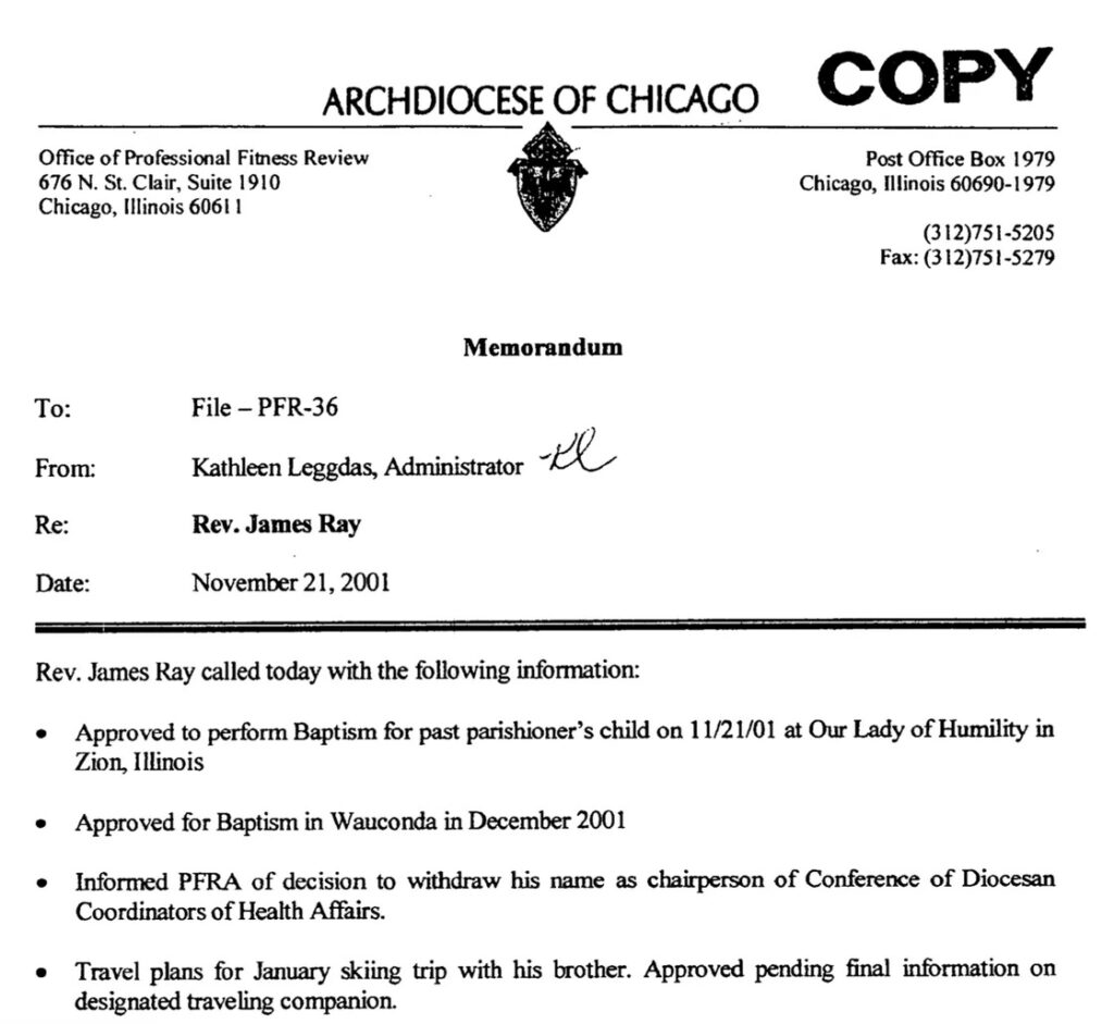 James Ray's church files show he continued to be given vast latitude to serve as a priest after being accused of sexual abuse. Archdiocese of Chicago.  BA-Chicago-Ray-335