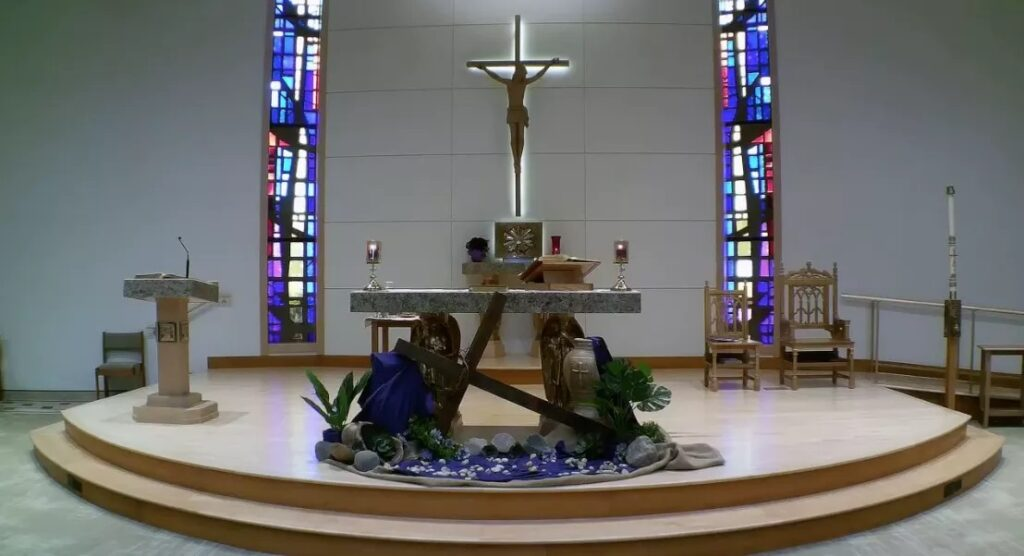 The altar at St. Peter Damian Church in Bartlett. According to an ongoing lawsuit, James Ray was assigned there as a priest and is accused in the civil court case of repeatedly molesting a boy in the 1980s. Video screenshot