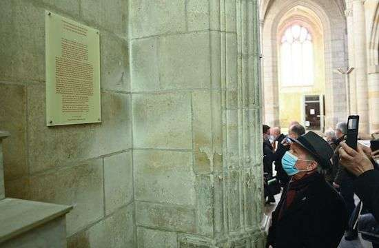 A plaque has been installed in the cathedral of Luçon as an act of repentance for those who have suffered abuse from priests, March 14, 2021. (FRANCK DUBRAY/OUEST FRANCE/MAXPPP)