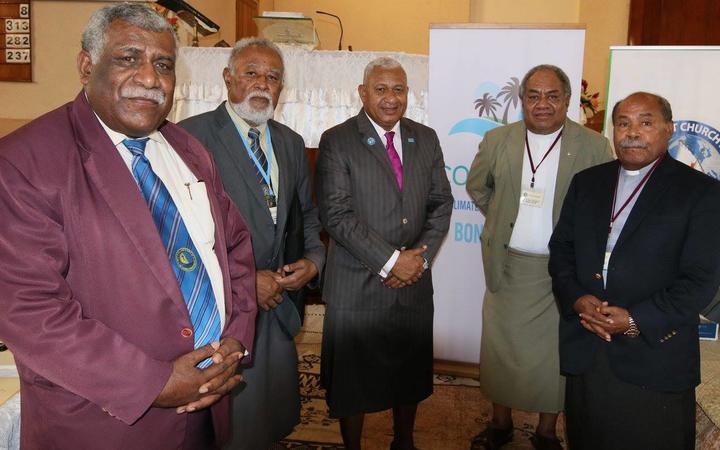 From left, Methodist Church president Reverend Ili Vunisuwai, vice-president Apisalome Tudreu, Prime Minister Frank Bainimarama, and former church presidents Dr Epineri Vakadewavosa and Tevita Banivanua, Photo: Facebook / Fiji govt