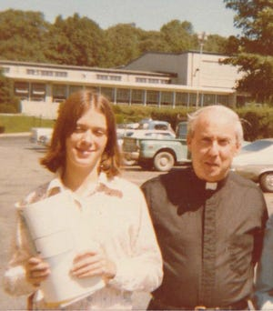 Susan Gallagher, who lived in Waldwick, with Father Frank Nugent, a director of Don Bosco Prep in Ramsey in the 1970s. Gallagher received a settlement from the Salesians of Don Bosco religious order related to allegations that Nugent sexually abused her and her brother when they were children. Courtesy of Susan Gallagher.