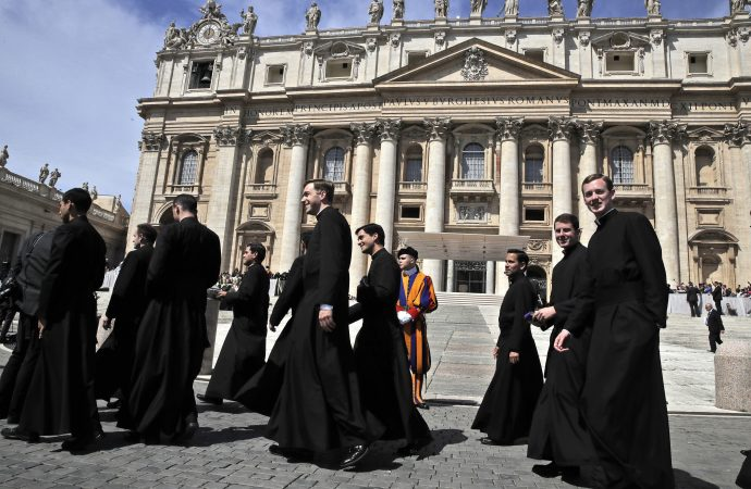 Members of the Legionaries of Christ order walks in St. Peter's Square after meeting Pope Francis at the end of his weekly general audience, at the Vatican, Wednesday, May 8, 2019. (Alessandra Tarantino / AP via Crux)