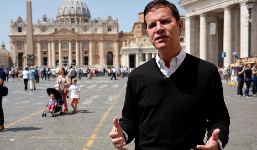 In this April 24, 2018 file photo, clergy sex abuse survivor and victim's advocate Juan Carlos Cruz, from Chile, is interviewed by The Associated Press, outside the Vatican's St. Peter's Square, in Rome, Tuesday, April 24, 2018. Pope Francis on Wednesday, March 24, 2021 named Cruz, who helped uncover a clerical sex abuse scandal, to a Vatican commission which advises the pontiff on how to protect children from pedophile clergy. (AP Photo/Andrew Medichini, file)