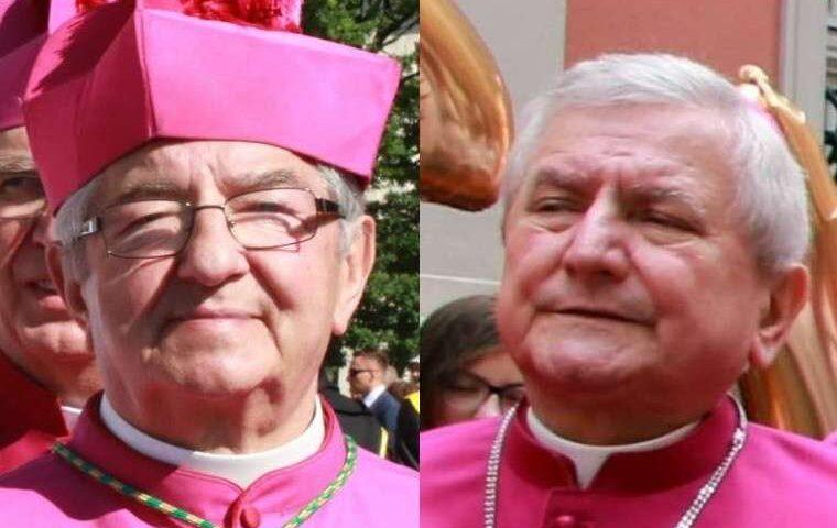Archbishop Sławoj Leszek Głódź (L) and Bishop Edward Janiak (R). / Credit: Joanna Adamik (public domain) and Press Office of the Archdiocese of Krakow.