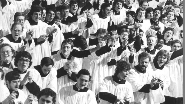 Priests in Maynooth during the Pope's visit to Ireland in 1979. Photograph: Eddie Kelly