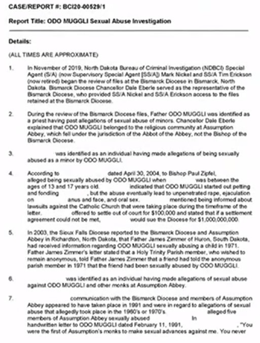 Report on Rev. Odo Muggli OSB, page 1, North Dakota Bureau of Criminal Investigation, Case Master Report BCI 20-00529