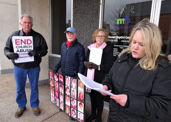 Cheryl Summers of For Such a Time as This Rally (right) calls for a state investigation of Baptist clergy while standing in front of the Missouri Baptist Convention headquarters on Feb. 26, 2020, joined by advocates for victims of clergy sexual abuse. (Brian Kaylor / Word&Way)
