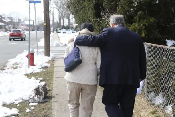 The mother of a victim of alleged childhood sex abuse by the Rev. Kevin Gugliotta leaves a March 2019 press conference with her attorney Gregory Gianforcaro, across the street from the St. Bartholomew Roman Catholic Church in Scotch Plains where the alleged abuse occurred. Chris Pedota, NorthJersey.com-USA Today Network