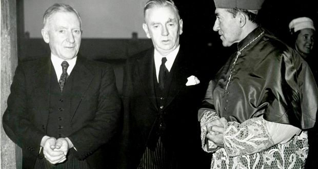 Gen Richard Mulcahy, minister for education, taoiseach John A Costello andJohn Charles McQuaid, Archbishop of Dublin, at the opening of Our Lady's Hospital for Sick Children Crumlin, in 1956. Photograph: Eddie Kelly