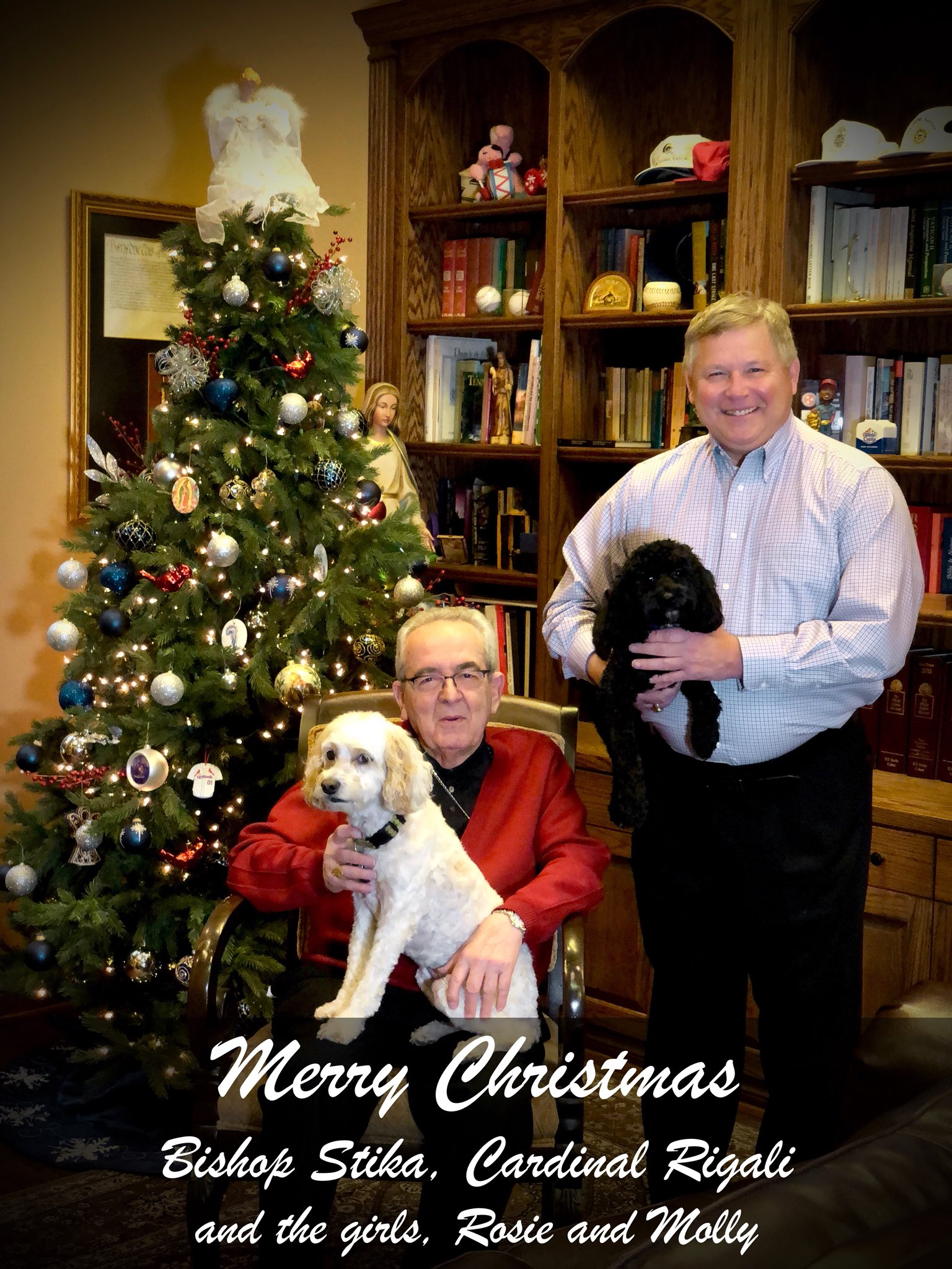 Stika poses with Cardinal Justin Rigali on the cover of his 2017 Christmas card. Rigali, who worked with Stika in the Archdiocese of St. Louis, resides in Stika's Knoxville home.