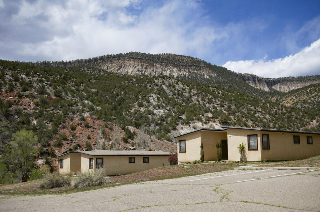 Lodging units at the Fitzgerald Retreat and Renewal Center, near Mary, Mother of Priests Catholic Church in Jemez Springs. Opened in 1947, the Paracletes' properties appear to be mostly empty. There may be as few as two priests and one brother there. One building north of town is for sale. But plaques, signs and other items reveal a time when the Servants of the Paraclete was a big, if reclusive, organization in town. Matt Dahlseid / The New Mexican
