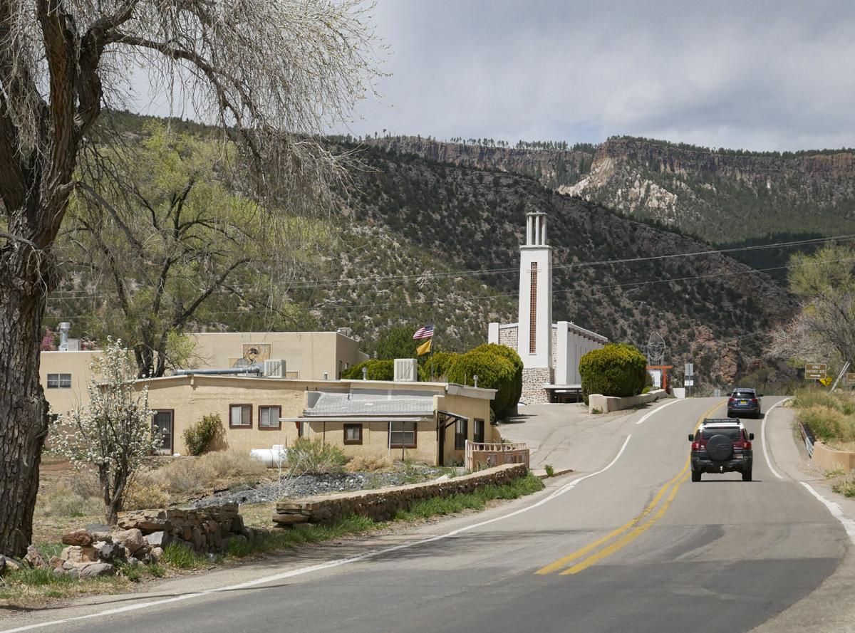 The tower of Mary, Mother of Priests Catholic Church rises along N.M. 4 in Jemez Springs. Matt Dahlseid / The New Mexican