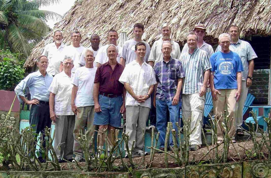 Dziak also in Belize with volunteers, on the far right.
