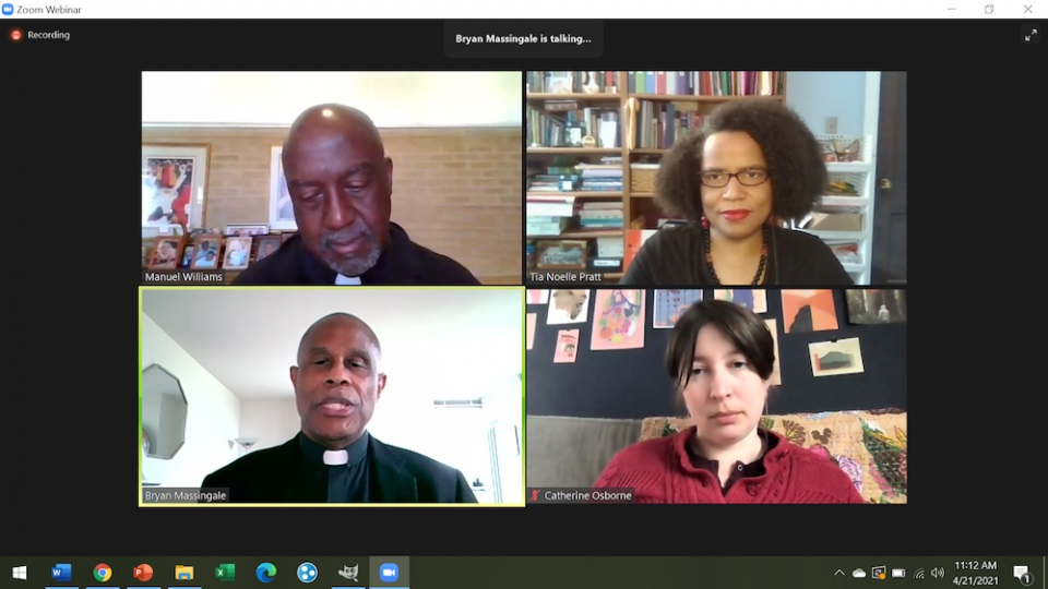 """Resurrectionist Fr. Manuel Williams, top left, director of Resurrection Catholic Missions of the South, Inc. and pastor of Resurrection Catholic Church in Montgomery, Alabama; Tia Noelle Pratt, top right, sociologist of religion and director of Mission Engagement and Strategic Initiatives at Villanova University; and Fr. Bryan Massingale, bottom left, professor of theological and social ethics and the James and Nancy Buckman Chair in Applied Christian Ethics at Fordham University, were panelists in Fordham University's """"Black Communities and the Clerical Abuse Crisis"""" panel, April 21, moderated by historian Catherine Osborne, bottom right, coordinator of Fordham's Taking Responsibility program and co-editor of """"American Catholic History: A Documentary Reader."""" (NCR screenshot/Madeleine Davison)"""