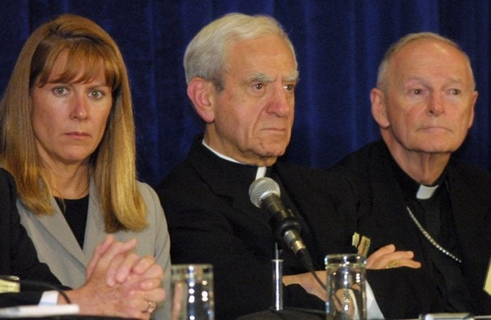 At the USCCB General Assembly in Dallas in June 2002, SNAP President Barbara Blaine meets the press with Cardinal Anthony Bevilacqua of Philadelphia and Cardinal Theodore McCarrick of Washington.