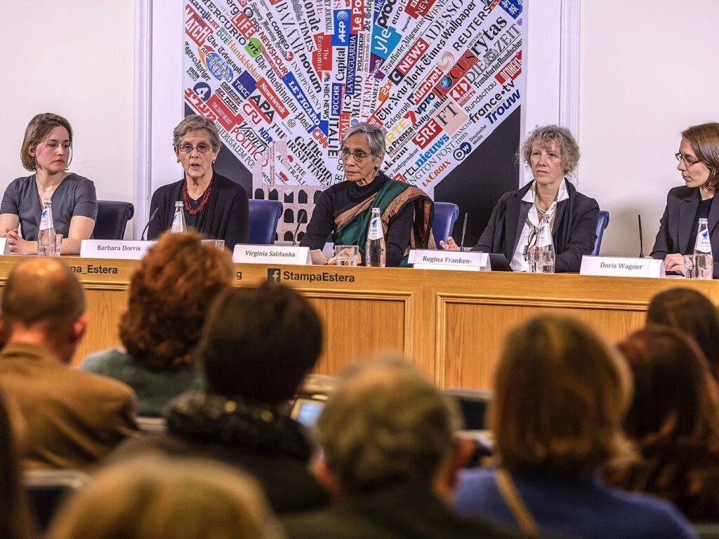 Voices of Faith press conference in Rome on February 19, 2019 before the abuse summit, with Zuzanna Flisowska, Barbara Dorris, Virginia Saldanha, Regina Franken-Wendelstorf, and Doris Wagner.  Photographer unknown.