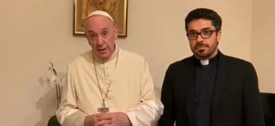 "Pope Francis and Father Daniel Portillo of CEPROME, the Center for Interdisciplinary Research and Formation for the Protection of Minors from the Pontifical University of Mexico. In a video he sent to CEPROME in 2020, with the priest standing next to him, Francis urged Latin Americans to work on abuse prevention even though ""you will be threatened, because there are those who are threatened. More than one will tell you that they are capable of hiring a hit man to clean up the field."" (Credit: Screen capture.)"