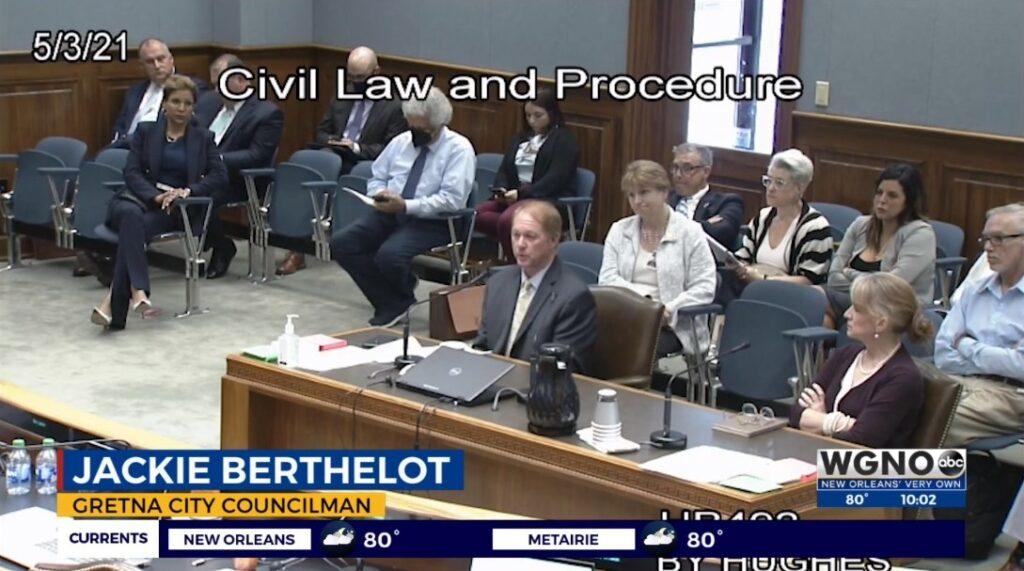 Gretna Councilman Jackie Berthelot testifies. Screen shot.