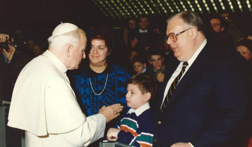 James A. Serritella with Pope John Paul II in 1997. His influence extended from the National Conference of Catholic Bishops to the U.S. Supreme Court. Credit via Serritella family