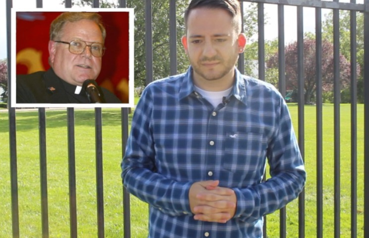 Joseph Caramanno speaks about alleged abuse he suffered at St. Joseph by-the-Sea High School at the hands of Monsignor John Paddack, inset. (Staten Island Advance / Rebeka Humbrecht)