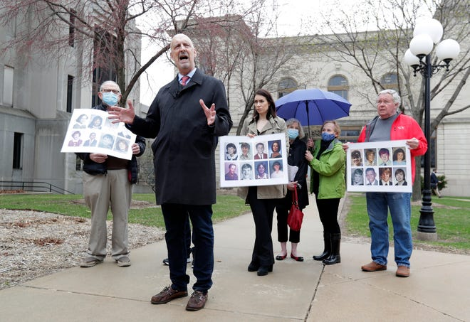 Peter Isely, program director of Nate's Mission, speaks outside the Brown County District Attorney's office on April 8, 2021, to advocate for reopening a sex abuse case against a priest with known offenses and ties to St. Norbert Abbey.
