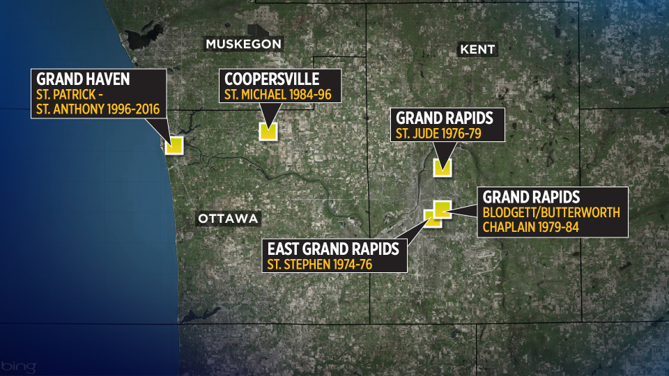 A map shows where William Langlois worked as a priest within the Catholic Diocese of Grand Rapids.