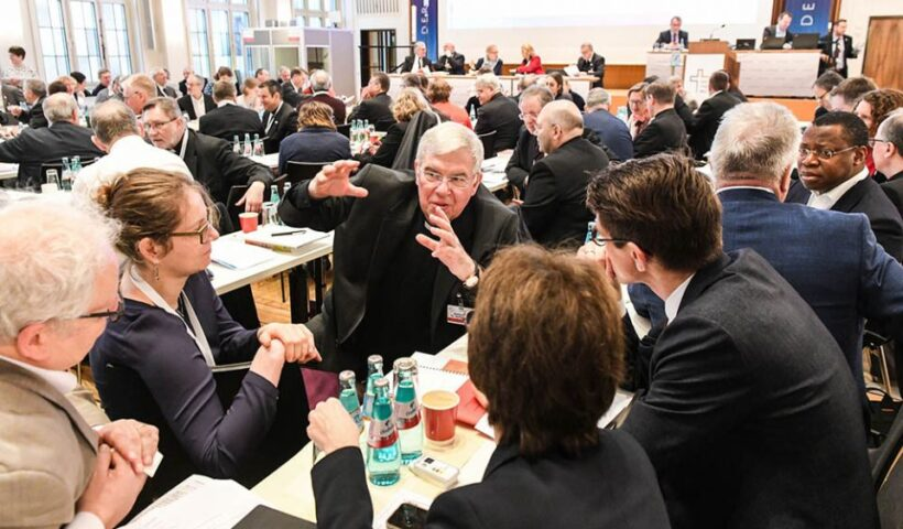 Auxiliary Bishop Karlheinz Diez of Fulda, Germany, speaks Jan. 31, 2020, with synodal assembly participants in Frankfurt. (CNS / KNA / Harald Oppitz)
