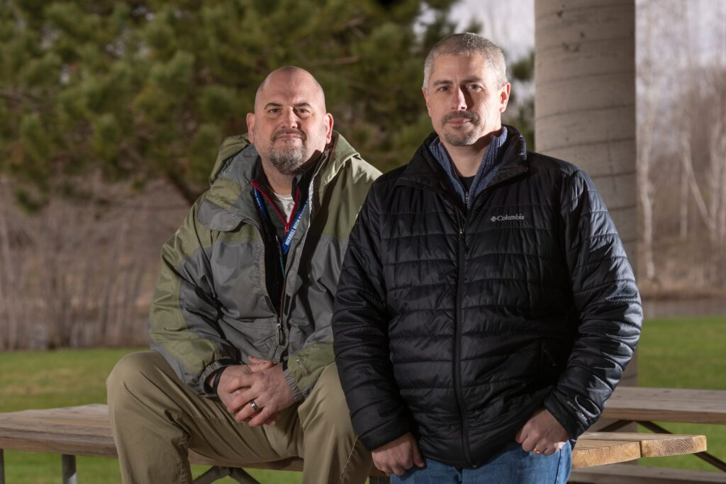 Steve Weix, left, and Chad Travis have shared their memories of childhood sexual abuse at the hands of former priest Thomas Ericksen. Ericksen, at age 72, was sentenced to 30 years in prison on two charges of sexually assaulting boys while stationed at St. Peter's Catholic Church in Winter. Mark Hoffman / Milwaukee Journal Sentinel