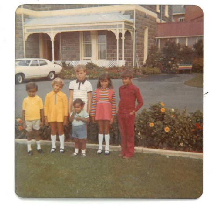 A photograph of Charmaine Clarke (second right) with siblings Peter, Selina (deceased), Paul, George (deceased) and Laurie at St Josephs Catholic Home in Ballarat, 1972.
