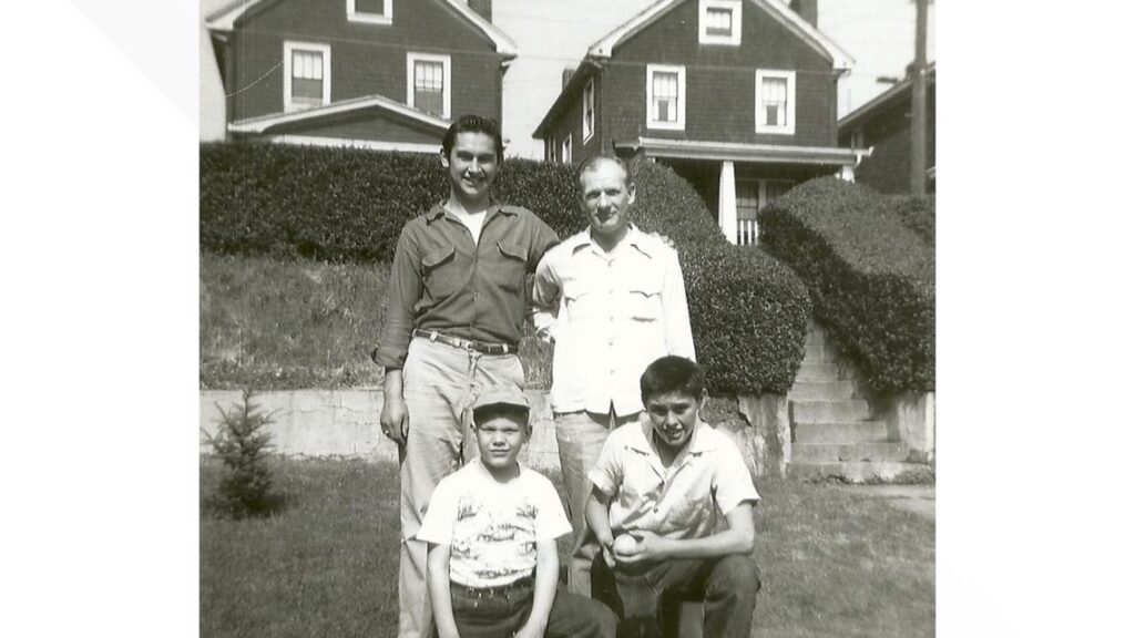 Courtesy Harriet Dudich Bobby Bizup with his father and cousins, Larry Pyzola and Dan Pyzola.