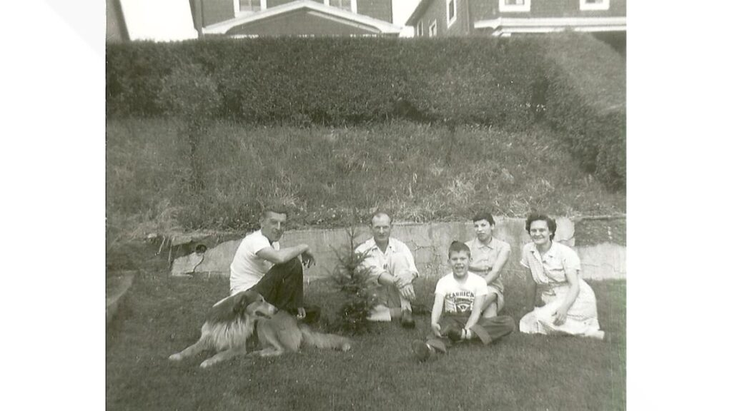 Courtesy Harriet Dudich Bobby Bizup with his parents and aunt and uncle during a visit to Pittsburgh in 1956.