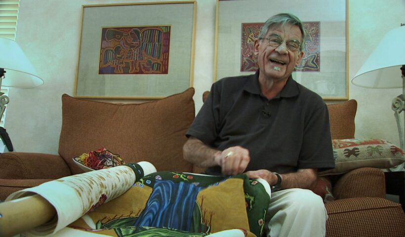 Richard Sipe at home in La Jolla, California, working on his tapestry of Torcello's Last Judgment. Still from Sipe: Sex, Lies, and the Priesthood