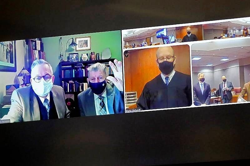 In this file photo from March 26, 2021, Michael Penkava, left, and Colin Scott appear over video conference in court with Judge Mark Gerhardt, center, at the Michael J. Sullivan Judicial Center in Woodstock. Matthew Apgar/Shaw Media