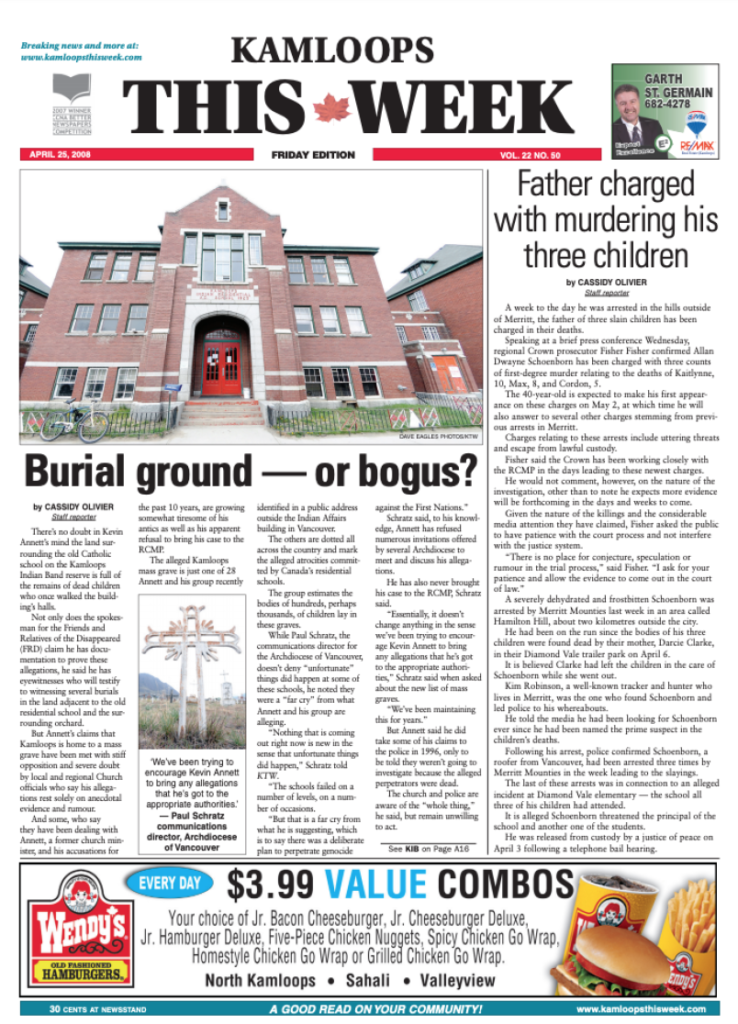 The front page of the April 25, 2008, edition of Kamloops This Week featured a story on claims of a mass grave of children near the former Kamloops Indian Residential School. Photograph By KTW