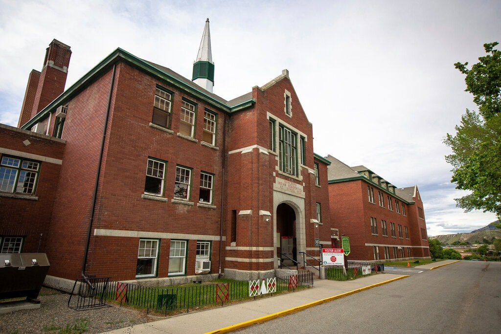 The former Kamloops Indian Residential School..Credit...Andrew Snucins/The Canadian Press, via Associated Press