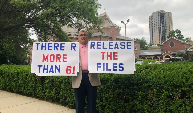 Robert M. Hoatson, founder of the clergy abuse victims advocacy group Road to Recovery, protests outside St. Michael's Cathedral in Springfield on June 3, 2021. (Stephanie Barry photo)