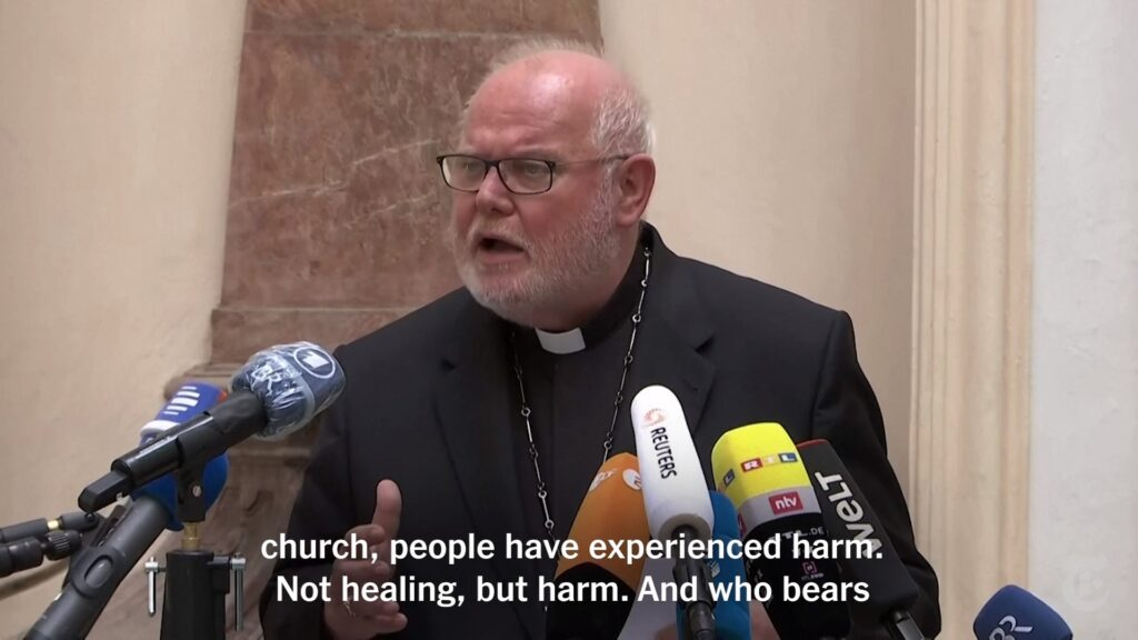 Still from Reuters video. Caption: Cardinal Reinhard Marx, a leading figure in Germany's Roman Catholic Church, said on Friday that he had offered his resignation to share in taking collective responsibility for sexual abuses by priests. Arne Dedert / DPA, via Agence France-Presse - Getty Images