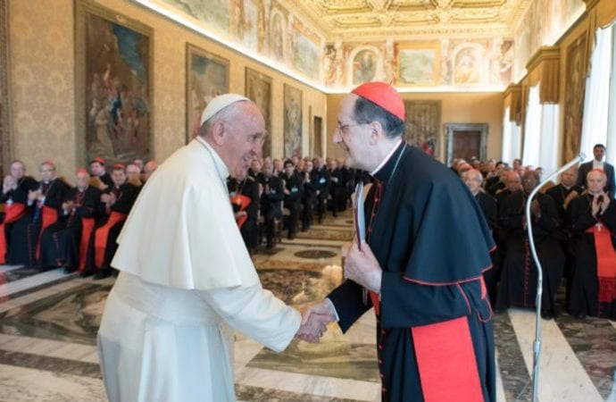 In this file photo, Pope Francis greets Cardinal Beniamino Stella, prefect of the Congregation for Clergy, during an audience with participants in the plenary assembly of the Congregation for Clergy at the Vatican June 1, 2017. (Credit: CNS photo/L'Osservatore Romano.)
