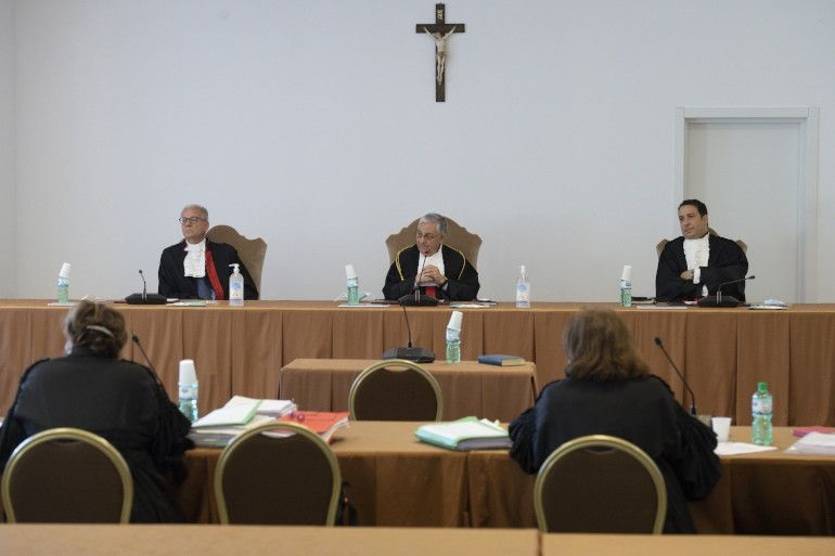 Judges are pictured in the new multifunction room at the Vatican Museums during the trial of two priests by the Vatican City State court June 7, 2021. (CNS photo/Vatican Medi