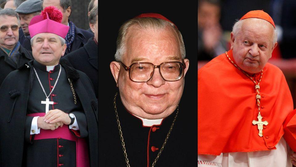From left: Bishop Edward Janiak (CNS/Agencja Gazeta via Reuters/Mieczyslaw Michalak); Cardinal Henryk Gulbinowicz (CNS/Catholic Press Photo); Cardinal Stanislaw Dziwisz (CNS/Paul Haring)