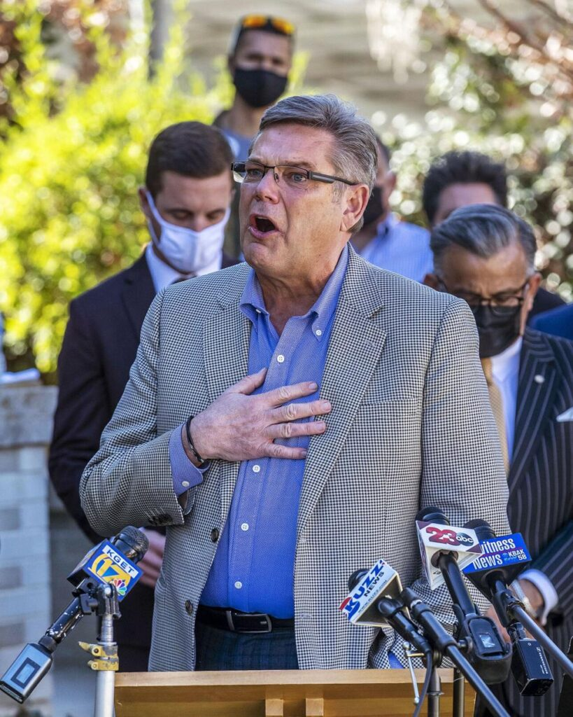 Craig Harrison delivers an emotional address during a news conference at the law offices of Kyle J. Humphrey near downtown Bakersfield in February.  Nick Ellis / For The Californian
