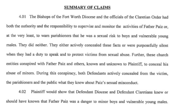 From a lawsuit that accused the Rev. William Paiz CMF of sexual abuse and the Claretian order of complicity. Court files