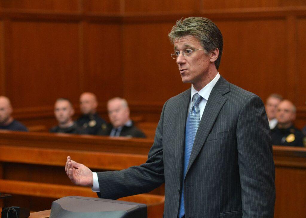 Hampden District Attorney Mark Mastroianni speaks in court in 2013. (Don Treeger / The Republican file photo)