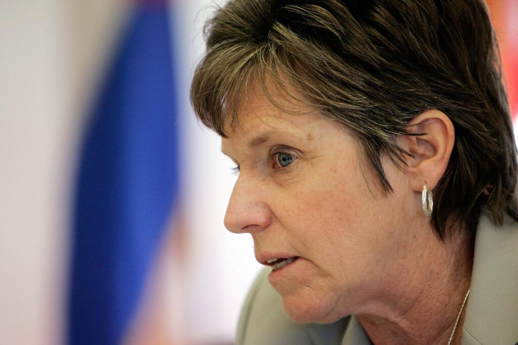 Senate President Joan Fitz-Gerald, D-Golden, talks about issues with the Catholic Church and legislation she was sponsoring on sexual abuse during an AP Newsmaker interview with reporter Colleen Slevin at the Capitol in Denver, on Wednesday, May 10, 2006.   (AP Photo/Ed Andrieski)