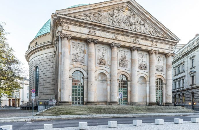 The facade of St. Hedwig's Cathedral is pictured in Berlin Nov. 3, 2017. The Archdiocese of Berlin says the expert commission on sexual abuse in the archdiocese has suspended its work for the time being. (Credit: Kristian Barthen/KNA via CNS.)