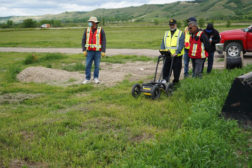 Search teams using a ground-penetrating radar on a grave site near the former grounds of Marieval Indian Residential School in Saskatchewan. Credit...Federation of Sovereign Indigenous Nations