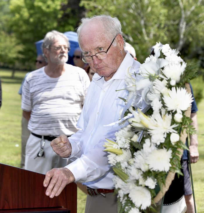 Retired priest Rev. James Scahill gives a passionate speech during a graveside memorial service for Danny Croteau, the 13-year-old altar boy authorities determined was killed by his parish priest in 1972. The service was held at Danny's grave in Hillcrest Cemetery in Springfield, June 28, 2021. (Don Treeger / The Republican)