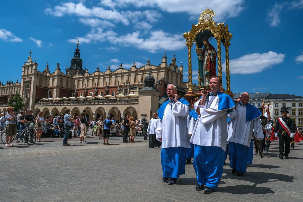Polish Catholics celebrating a Corpus Christi holiday Mass in Krakow earlier this month. Credit. Omar Marques / Getty Images